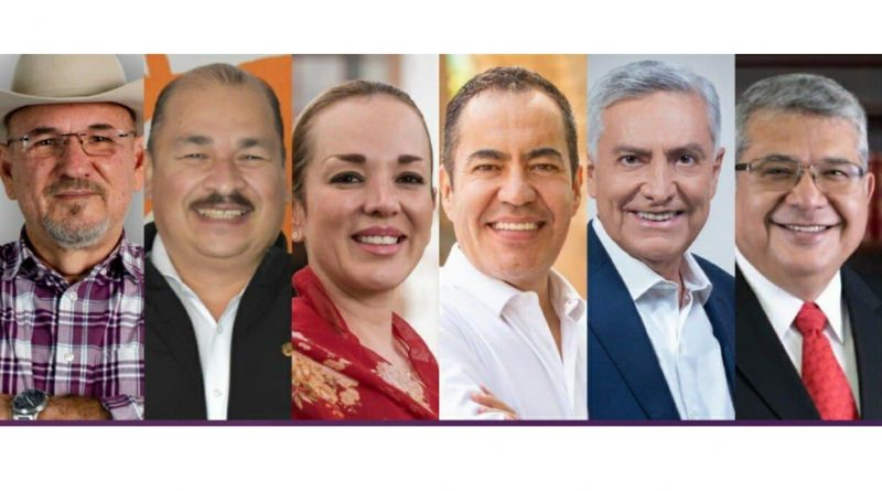 imagen de los seis participantes del primer debate