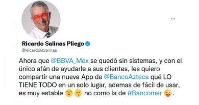 Salinas Pliego trollea a BBVA y promociona su banco