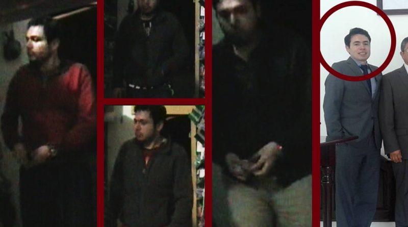 Cuatro fotografías de Joel Chavez Salazar robando, una última vestido como testigo de Jehová